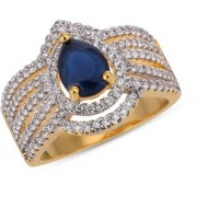 Tistabene Retails Contemporary Colored Stones Stylish Designer Two Tone Plated Casual Ring For Women and Girls (RI-0823)