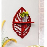 Onlineshoppee Beautiful MDF Decorative Corner Wall Shelf Size LxBxH - 12x5x18 Inch - Red