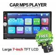 ER 7 'HD Touch Screen Car Bluetooth Stereo Radio MP3 MP4 MP5 (Con La Cámara)-Negro