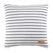 Maisons du Monde Cuscino in cotone bianco a righe blu, 40x40 cm