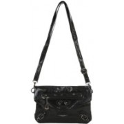 Lino Perros Women Casual Black PU Sling Bag