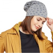 Vimal-Jonney Grey Melange Printed Cotton Beanie Cap For Women