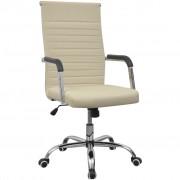 vidaXL Krémové kancelárske kreslo z umelej kože 55 x 63 cm
