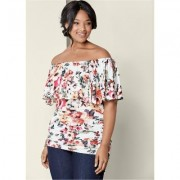 Plus Size Ruched OFF THE Shoulder TOP Tops - Multi/blue/neutral