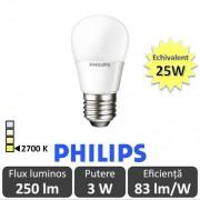 Bec LED Philips - LEDluster 3W P48 FR 230V E27 alb-cald
