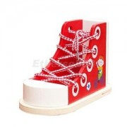 Alcoa Prime Wooden Threading Shoe Toy Learn To Tie Laces Lace Up Lacing Learning Aid