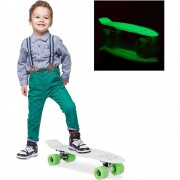 Skateboard 22 inch, Placa Alba, Roti Verzi, Fosforescent, ABEC 7