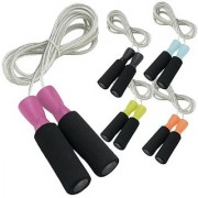Da Vinci Weighted 10-Feet Adjustable Speed Cable Jump Rope with Ball Bearing Handle Mechanism Pink