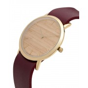 Analog Watch Classic Silverheart Wood Dial & Cherry Strap Watch GC-CS