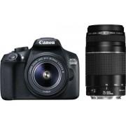 """Aparat Foto D-SLR Canon EOS 1300D + EF-S 18-55mm + EF 75-300mm, 18 MP, Ecran 3"""" LCD, Filmare Full HD (Negru)"""