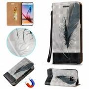 BLCR plumas patron magnetico PU caso para Samsung Galaxy S6
