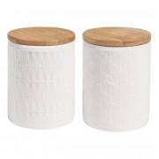 Maisons du Monde 2 tarros de cerámica blanca con tapa