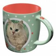123 Kado koffiemokken Groene kattenliefhebber mok