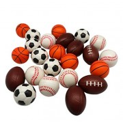 Forest & Twelfth Kids Set of 24 Sports ball, Relaxable Sports Themed Mini Stress Balls with Squeeze Foam for Anxiety Relief, Relaxation, and Party Fav
