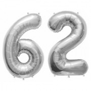 De-Ultimate Solid Silver Color 2 Digit Number (62) 3d Foil Balloon for Birthday Celebration Anniversary Parties
