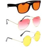 Elligator Aviator, Wayfarer, Round Sunglasses(Orange, Pink, Yellow)