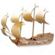 """3-D Wooden Puzzle - Sailing Military Ship """"Eagle"""" -Affordable Gift for your Little One! Item #DCHI-W"""