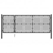 vidaXL Poartă de grădină, negru, 350 x 125 cm, oțel