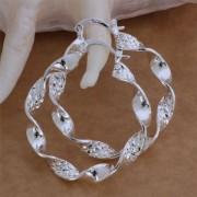 Cercei mari placati argint rasuciti Sara