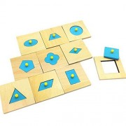 The Single Mom Home Edition Montessori Math Toys Wood Geometry Shape Insets Set/10 Blue Early Childhood Education