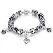 925 Silver Bracelet With Handmade Hearts Charm Murano Bead - 18cm