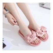Bowknot satinado Slip-on zapatillas cómodas sandalias planas zapatos vacaciones Rosa