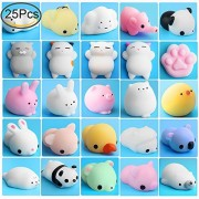 Mochi Animals Stress Toys, Outee 25 Pcs Mochi Squishy Toy Soft Squishy Stress Relief Animal Toys Mochi Squeeze Toys Mini Seal Rabbit Chicken Duckling Elephant Sheep Cat Squishies, Random color