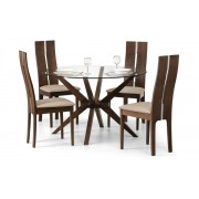 Chelsea Round Glass Top Dining Table (Solid Beech in Walnut Finish With Clear Glass) - Table + 4 Cayman Chair