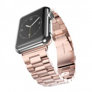 XINCUCO Three Bead Series Stainless Steel Watchband for Apple Watch Series 4 40mm / Series 3 2 1 38mm - Rose