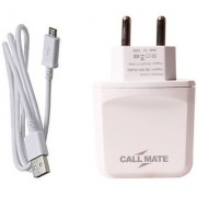 Callmate 3 USB 3.1Amp Fast Charger With Micro Cable- White