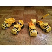 Mini Construction Vehicles Collection set Pack of 4 Trucks- Dump, Winch, Cement, and Excavation Truck