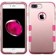 Funda Case Para IPhone 7 Plus / IPhone 8 Plus Protector Doble De Uso Rudo-Rose Gold Con Rosa