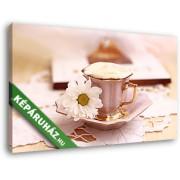 Kávéscsésze margarétával (40x25 cm, Vászonkép )