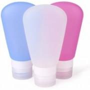 Zahuu 3Pcs Travel Silicone Empty Squeezable Bottles Set Travel Toiletry Kit(Multicolor)