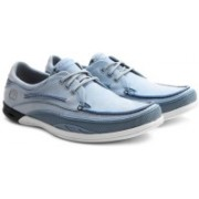 Clarks Orson Lace Light Blue Lea Sneakers For Men(Blue)