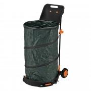 Сгъваем колектор за листа с подвижна торба, 60 x 54 x 108 cm, Черен [casa.pro]®