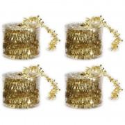 Bellatio Decorations 4x Dunne gouden folie kerstslingers 3,5 x 700 cm