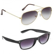 Magjons Fashion Combo Of Goldan Grey Aviator Black Wayfarer Sunglasses