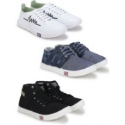 Treadfit Casual shoes combo of white sneakers and casual sneaker pack of 3 Casuals For Men(Multicolor)