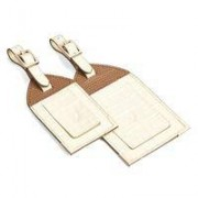 Set of 2 Luggage Tags Deep Shine Ivory Small Croc & Camel Lizard