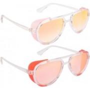 NuVew Aviator, Shield Sunglasses(Orange, Golden, Pink)