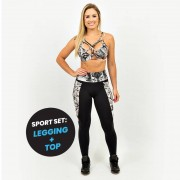 GraffitiBeasts Cost Two - Dames sport set bestaande uit legging + top met ontwerp - Multicolor - Size: Medium