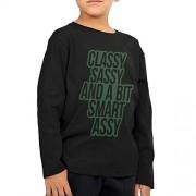 Viseaga Classy Sassy A bit Smart Assy Playera de Manga Larga de algodón para niño y niña (2-6T), Negro, 3 Años