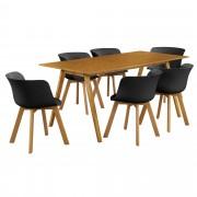 [en.casa]® Dizajnový bambusový jedálenský stôl HTNT4301 so 6 čiernymi stoličkami HTFL-6304