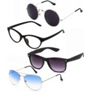 Barbarik Wayfarer, Round, Cat-eye, Aviator Sunglasses(Clear, Black, Blue, Violet)