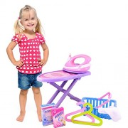"Dimple ""Mini Helper"" Ironing Set with Toy Iron, Ironing Board, Laundry Basket and More"