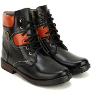 Crown Sapphire High Ankle Lace Up Casual Boots For Men (Black 6 UK)