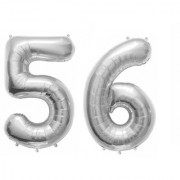 De-Ultimate Solid Silver Color 2 Digit Number (56) 3d Foil Balloon for Birthday Celebration Anniversary Parties