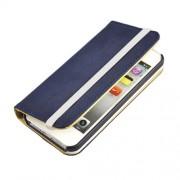 Кожен калъф с еластична лента за IPhone 5/5S - син