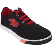 World WEAR Footwear Men Black Red Lace-up Casual Shoes For Men